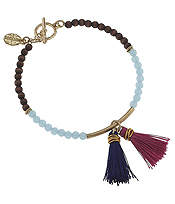 DOUBLE TASSEL AND WOOD AND GLASS BEAD MIX TOGGLE BRACELET