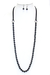 MULTI GLASS BEAD AND LEATHERETTE LONG NECKLACE SET
