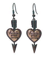 HEART AND ARROW DROP EARRING - FOLLOW YOUR ARROW