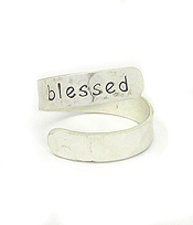 RELIGIOUS INSPIRATION BRASS SWIRL RING - BLESSED
