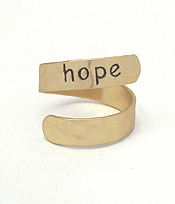 RELIGIOUS INSPIRATION BRASS SWIRL RING - HOPE