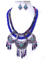 LAYER CHAIN AND CLOTH TRIBAL STYLE NECKLACE SET