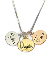 LOVE MESSAGE TRIPLE PENDANT NECKLACE - MOTHER DAUGHTER FRIENDS