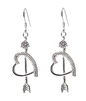 925 STERLING SILVER PLATING HEART AND ARROW EARRING
