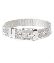 925 STERLING SILVER PLATED MESH BAND BUCKLE BRACELET