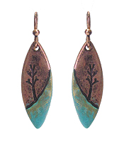 VINTAGE STYLE TREE ON FEATHER EARRINGS