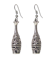 VINTAGE TIBETAN SILVER FILIGREE BOTTLE EARRING