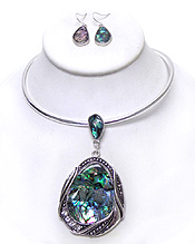 Wholesale Jewelry - THIN METAL ABALONE SRONE NECKLACE SET