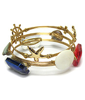 GLASS AND SHELL BOURBON WIRE SEALIFE THEME BRACELET SET OF 3
