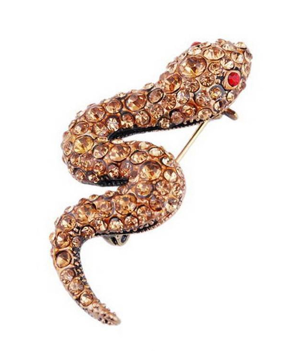 CRYSTAL STUD SNAKE PIN OR BROOCH