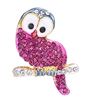 CRYSTAL AND EPOXY OWL PIN OR BROOCH