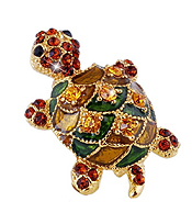 CRYSTAL AND EPOPXY TURTLE PIN OR BROOCH