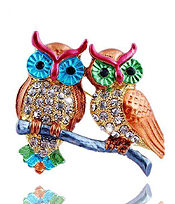 CRYSTAL AND EPOXY DOUBLE OWL PIN OR BROOCH