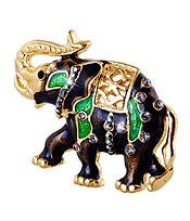 CRYSTAL AND EPOXY ELEPHANT PIN OR BROOCH