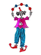 CRYSTAL AND EPOXY CLOWN PIN OR BROOCH