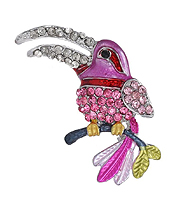 CRYSTAL AND EPOXY EXOTIC BIRD PIN OR BROOCH