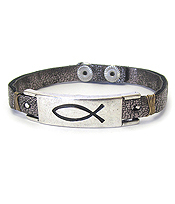 RELIGIOUS INSPIRATION FISH LEATHER BAND BRACELET