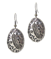 OVAL PLATE DROP EARRING - BLESS YOUR HEART