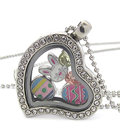 ORIGAMI STYLE FLOATING CHARM HEART LOCKET PENDANT NECKLACE - EASTER BUNNY - LOCKET OPENS AND CHARMS INCLUDED