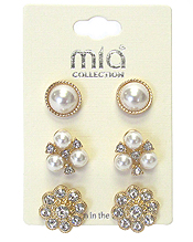 CRYSTAL AND PEARL MIX 3 PAIR EARRING SET