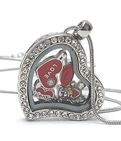 ORIGAMI STYLE FLOATING CHARM HEART LOCKET PENDANT NECKLACE - VALENTINE HEART - LOCKET OPENS AND CHARMS INCLUDED