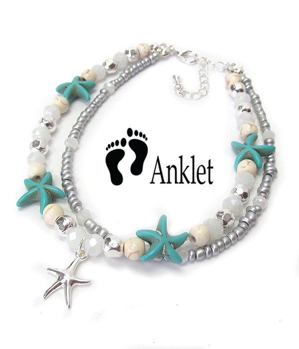 SEALIFE THEME MULTI SEA GLASS AND BEAD MIX DOUBLE LAYER ANKLET - STARFISH