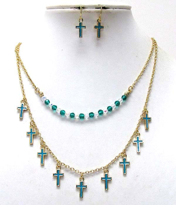 MULTI EPOXY METAL CROSS AND CRYSTAL GLASS BEADS DOUBLE CHAIN NECKLACE EARRING SET