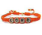CRYSTAL METAL ROUND DISK  LOVE MESSAGE AND CORD FRIENDSHIP BRACELET
