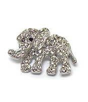 ELEPHANT WITH CRYSTALS BROOCH