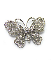 BUTTERFLY WITH CRYSTALS BROOCH