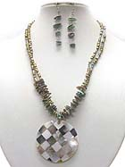 SHELL DISK PENDANT AND MULTI CHIP STONE NECKLACE EARRING SET