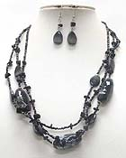 MULTI STRAND CERAMIC STONE AND MIXED BEADS NECKLACE EARRING SET