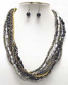 MULTI METAL CHAIN AND BEADS LINE LINK NECKLACE EARRING SET