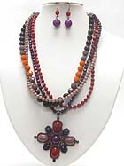 BOUTIQUE STYLE STONE AND BEADS ART DECO MULTI STRAND NECKLACE EARRING SET