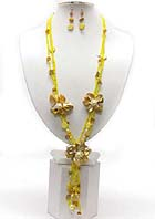 SHELL AND SEED BEADS FLOWER Y DROP LONG NECKLACE EARRING SET