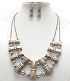 METAL ART BAR AND BALL LINK NECKLACE EARRING SET